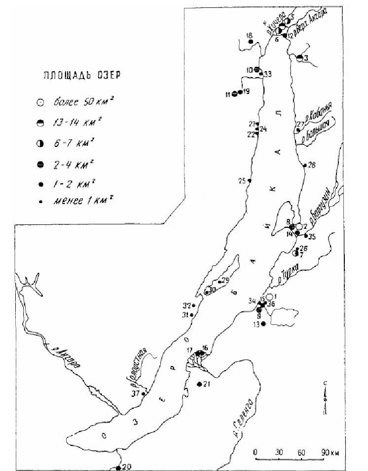 Карта-схема расположения озер