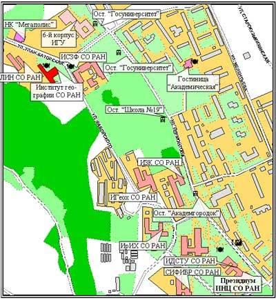 Схема Иркутского Академгородка