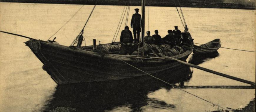 Перевозка омуля по Ангаре. 1929