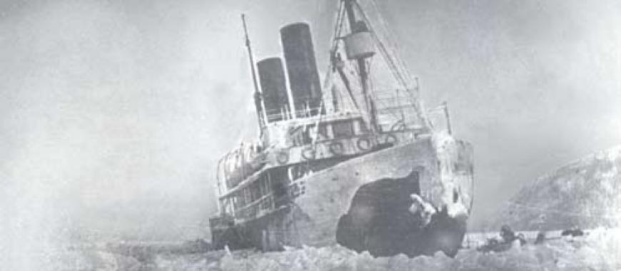 Байкал. Пароход «Ангара» затёрт льдами