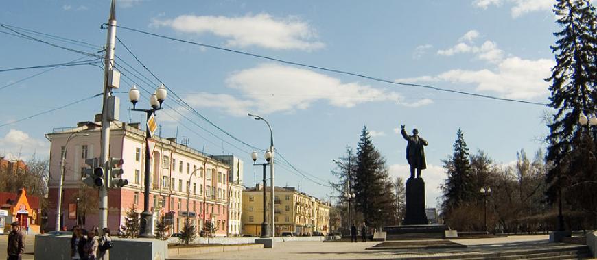 Памятник В.И. Ленину в Иркутске на углу улиц К. Маркса и Ленина