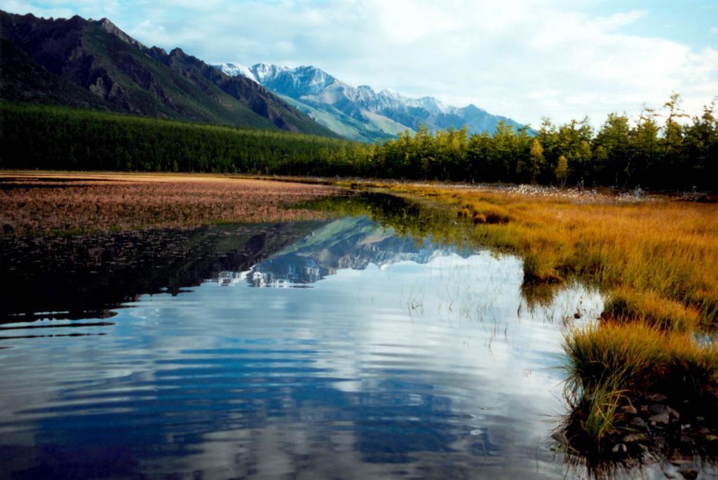 Красивейшее лагунное озеро Северного Байкала на мысе Большой Солонцовый отделено от моря 200-метровой полосой лиственничного леса.
