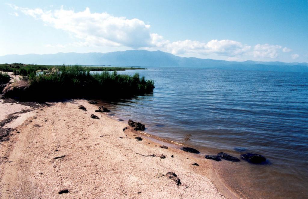 Песчаный участок на юго-западном берегу сора Арангатуй (Чивыркуйский перешеек). На горизонте полуостров Святой Нос.