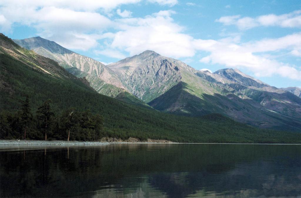 Вершины Байкальского хребта у Кедровых мысов. Четко видно поясное распределение растительности: тайга покрывает склоны до высоты 600-800 метров над уровнем Байкала. Выше - зона подгольцовых кустарников и влажной каменистой тундры.
