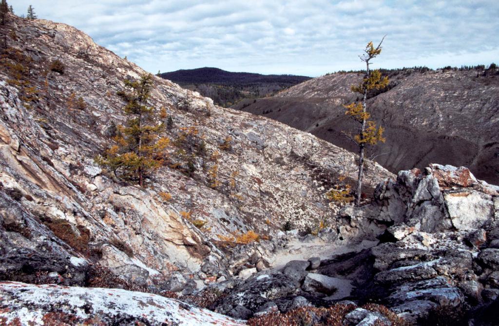 Территория Приольхонья представляет собой область широкого развития изверженных и метаморфических пород архейского возраста - разнообразных гнейсов, кристаллических сланцев, амфиболитов и мраморов. На снимке: каменистые склоны на правобережном склоне пади Зун-Саган-Заба в 1 километре от берега Байкала.