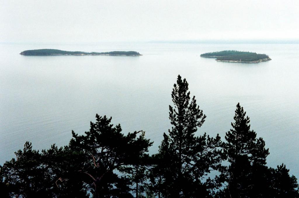 Малые Ушканьи острова расположены в 2.5 километрах от острова Большого Ушканьего и в 7 километрах от западного побережья полуострова Святой Нос. Острова составляют обособленную группу: они разделены узкими проливами с каменистыми рифами. На снимке: слева - остров Долгий, справа - Круглый и Тонкий. На островах находятся лежбища единственного в мире пресноводного тюленя - байкальской нерпы.