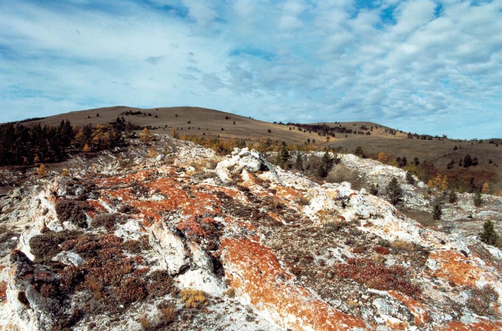 Участок уникальной холмистой Тажеранской степи (южный изолированный участок) в районе пади Зун-Саган-Заба. Возраст массива оценивается в 300-400 млн. лет.