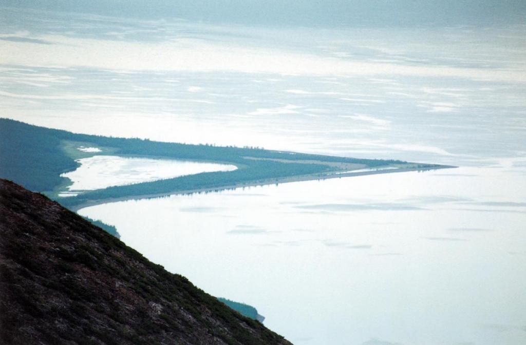 Мыс Большой Солонцовый - пример мощных аккумулятивных выносов на северо-западном побережье озера. Снимок сделан с вершины перевала Хаврошинский (1200 метров над уровнем Байкала).