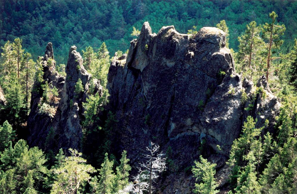 Одна из двух десятков красивых гранитных скал, разбросанных по склону Приморского хребта над бухтой Песчаная.