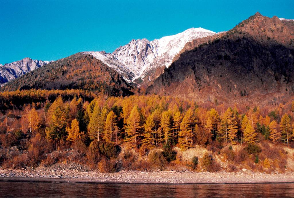 Краски яркого осеннего рассвета на байкальском берегу у мыса Южный Кедровый.