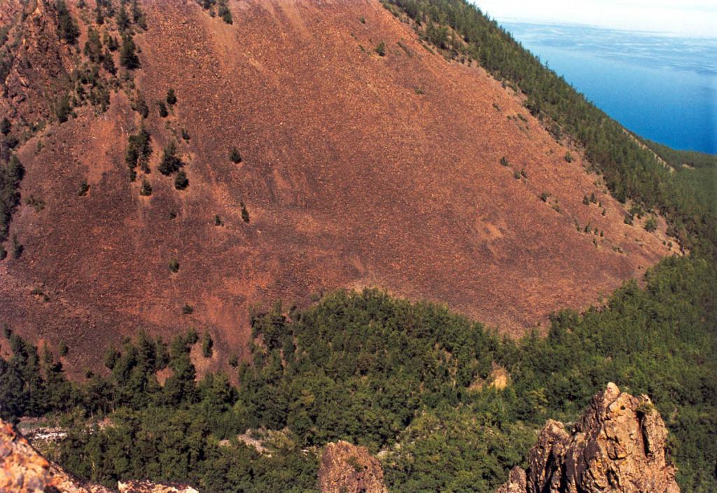 Поперечные разломы (Байкальского хребта) - Покойницкий, Заворотненский (на снимке), Елохинский, выраженные зонами милонизации, катаклаза, повышенной трещиноватости, сбросово-сдвиговыми смещениями пород, гравитационными и магнитными линейными аномалиями, совпадают также и с современными тектоническими уступами, а в Байкальской впадине - с тектоническими каньонами дна.