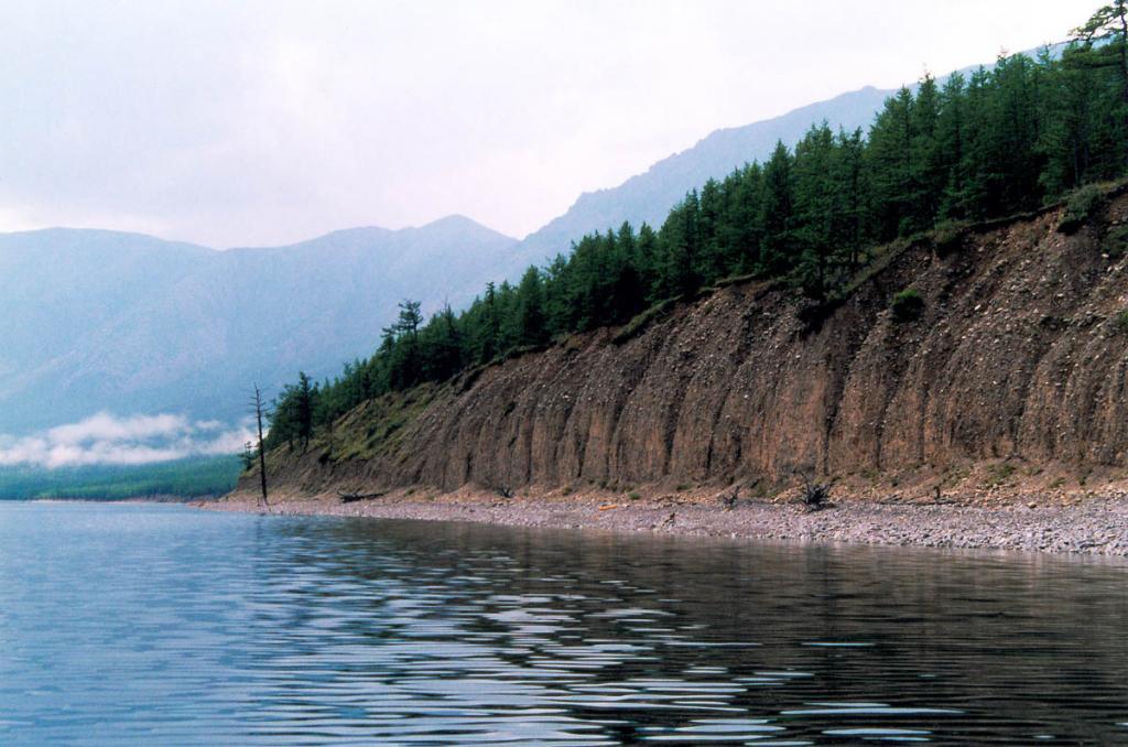 """На некоторых участках северо-западного побережья обнажаются древние озерные галечниковые отложения. На снимке: """"Берег бурых медведей"""" между мысами Большой Солонцовый и Саган-Марян. БЛГЗ."""