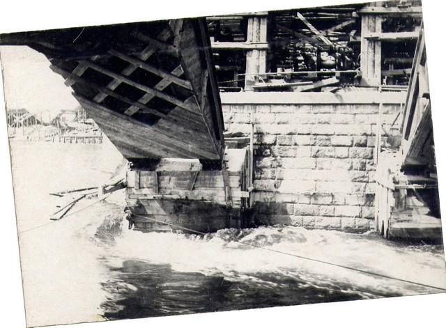 Опирание дощатых кружал на временную опору. Июль 1935г.