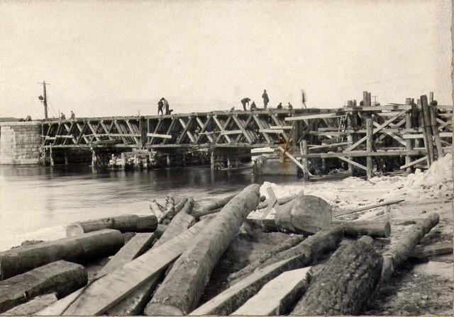 Установка ферм Гау в пролете №4. Март 1936г.