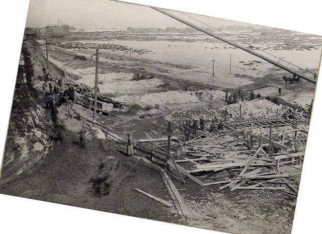 Начало работ на съезде к товарной станции. Апрель 1936г.
