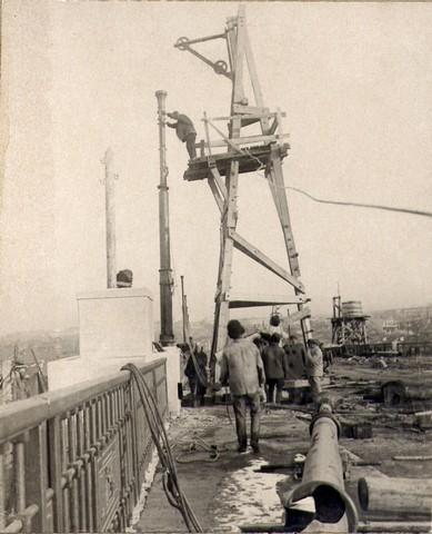 Установка фонарных мачт. Ноябрь 1936г.