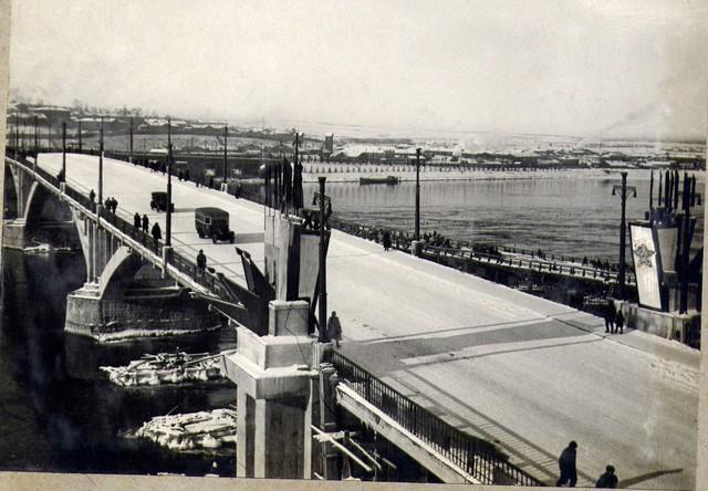 Вид сверху на речную часть моста. 8 ноября 1936г.