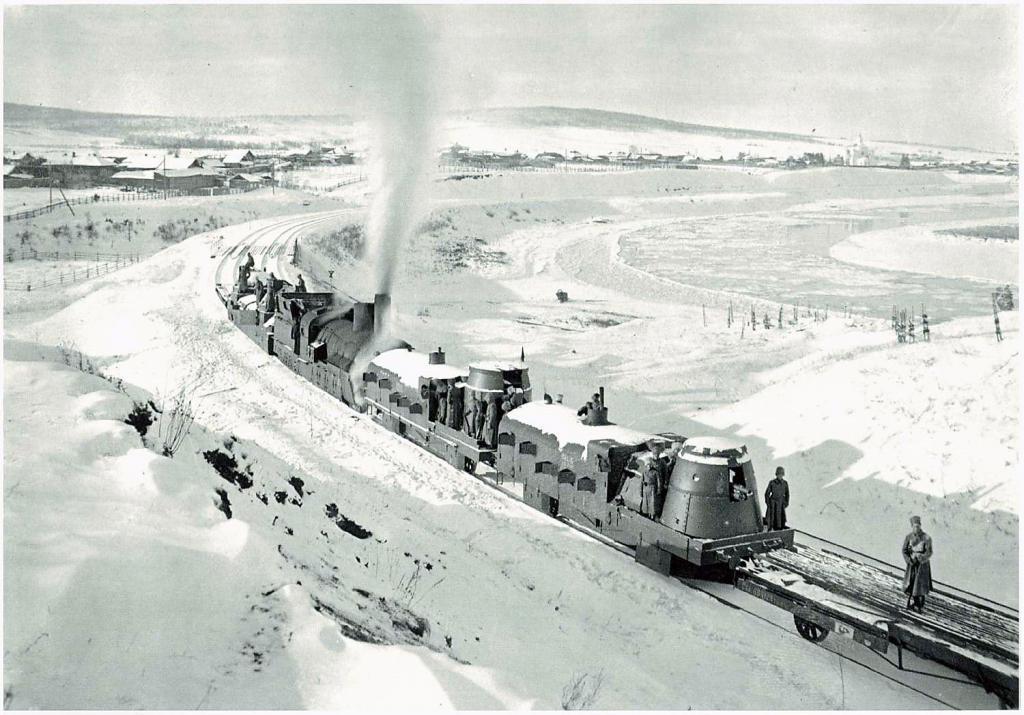 Чешский бронепоезд следует из Енисейской губернии в Иркутск 1919