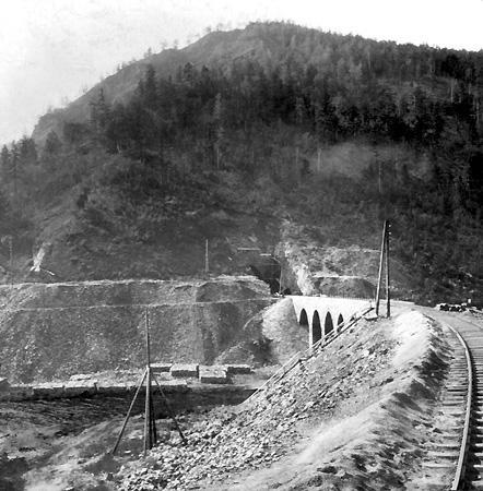 Кругобайкальская железная дорога. Долина реки Большая крутая губа. Строительство тоннеля. 1903 г.
