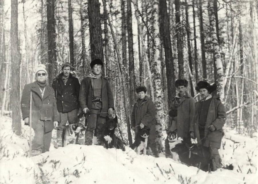 Полевые испытания молодых лаек. 19 ноября 1987 года, урочище Медвежья падь.