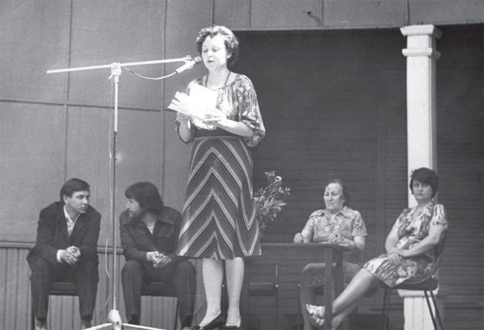 Пушкинский праздник ЦПКиО. Слева направо: В. Козлов, Г. Гайда, Т. Суровцева, Е. Жилкина, Л. Бендер