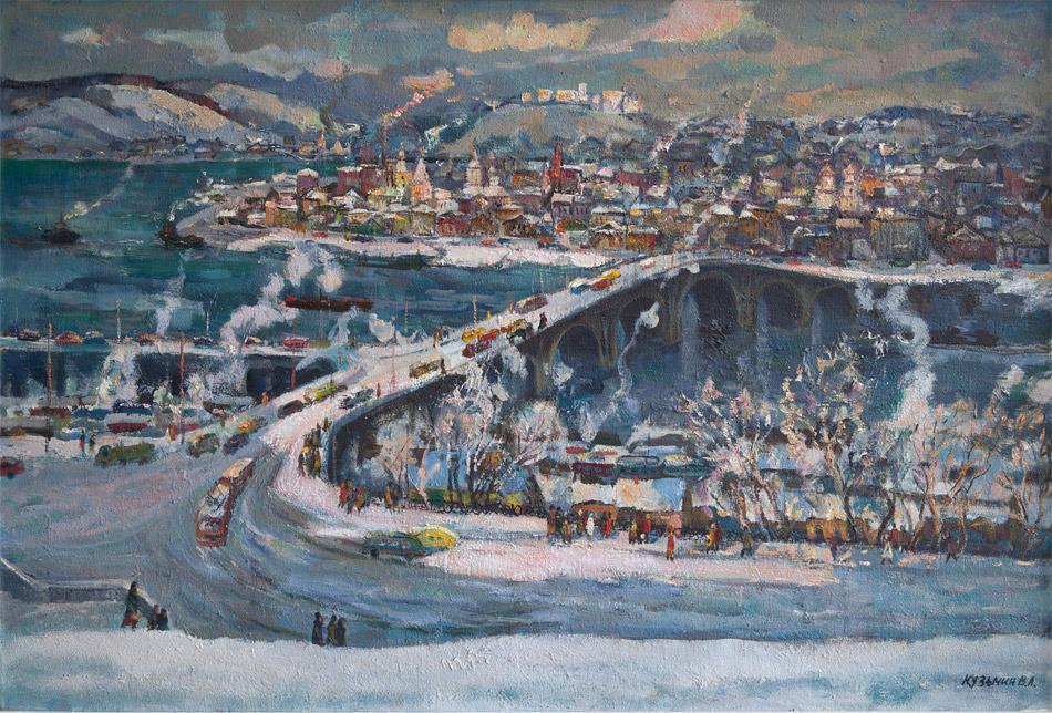 Ангарский мост. 1989, х. м., 100х150