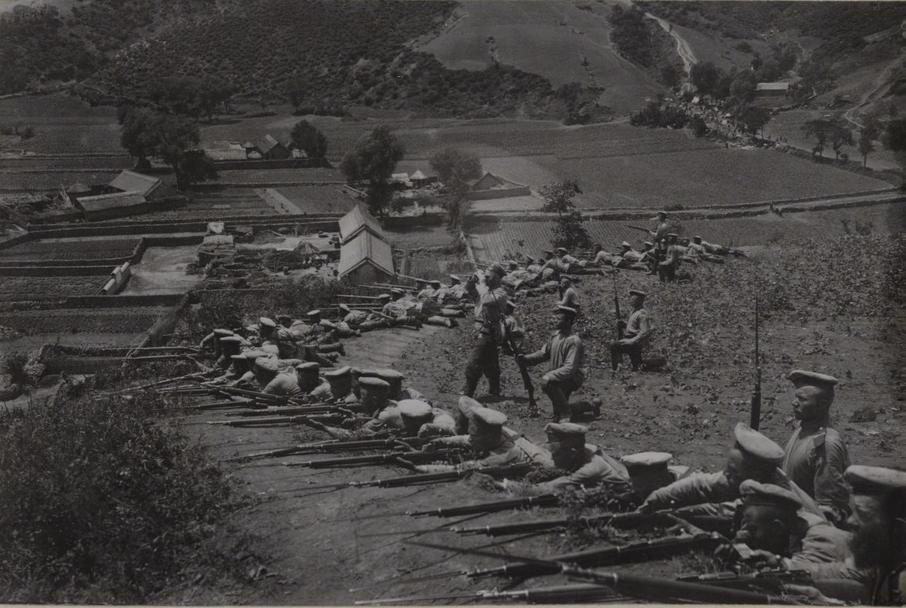 Перестрелка полуроты 21-го Восточно-Сибирского стрелкового полка по позициям у дер. Санчензы