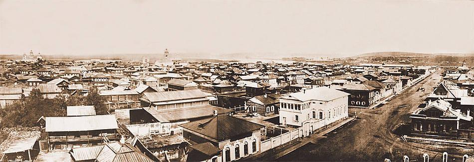 Панорама старого Иркутска до пожара. Фото А. К. Гофмана. 1866. Снято с колокольни Благовещенской церкви.