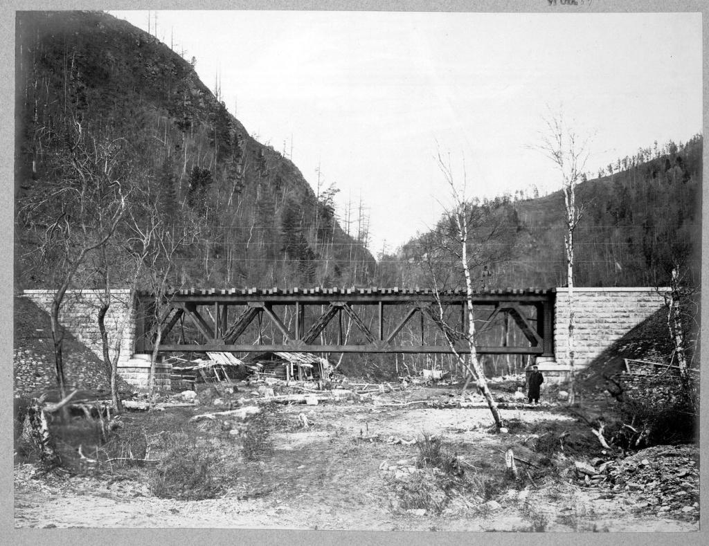 Строительство железнодорожного моста.