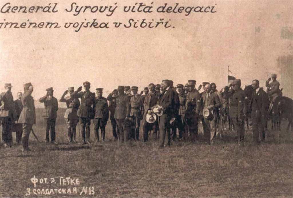 Генерал Сыровы приветствует делегацию от имени войска в Иркутске