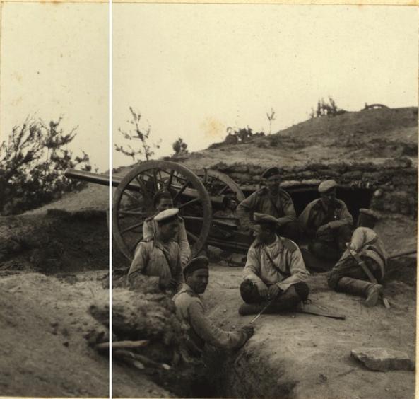 Бой на Далинском перевале 14 июля 1904 года. 1 батарея 6 Восточно-Сибирской стрелковой артиллерийской бригады в 6 часов утра