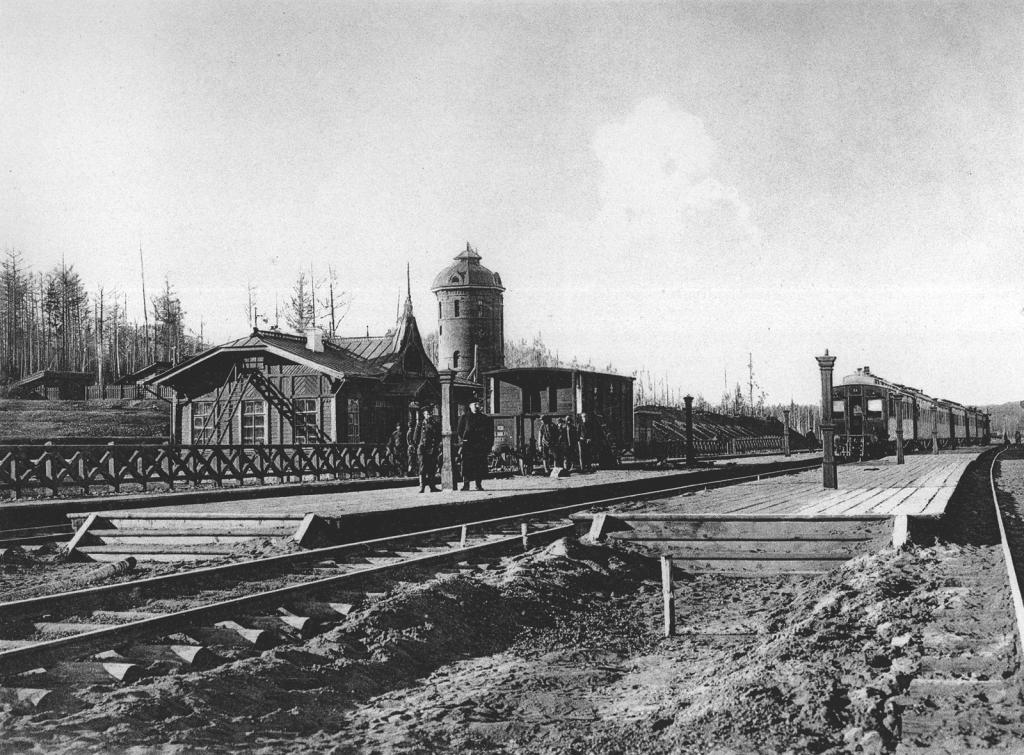 2458 верста. Общий вид ст. Байроновка. Строительный период 1910 г.