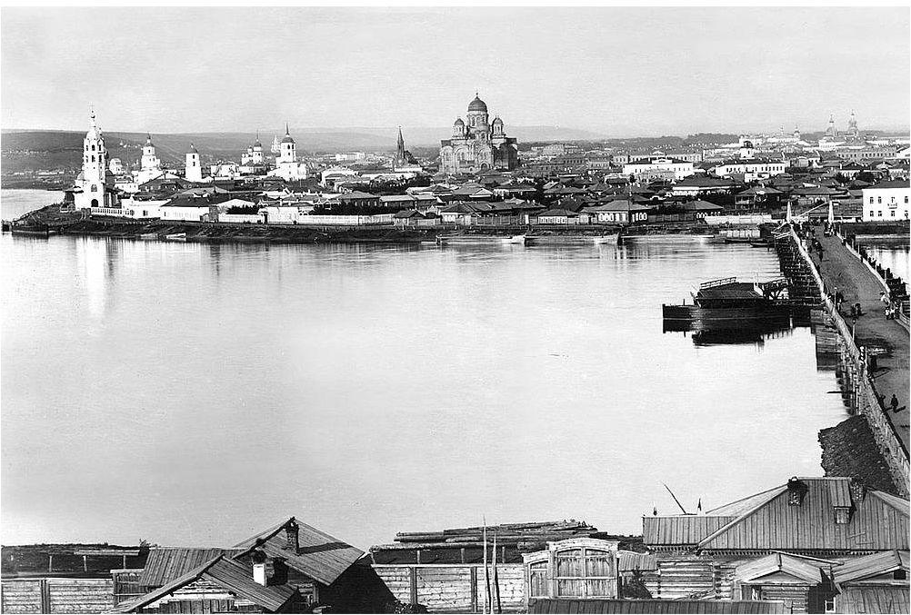 Панорама Иркутска с левого берега Ангары. Фото 1894–1895 гг.