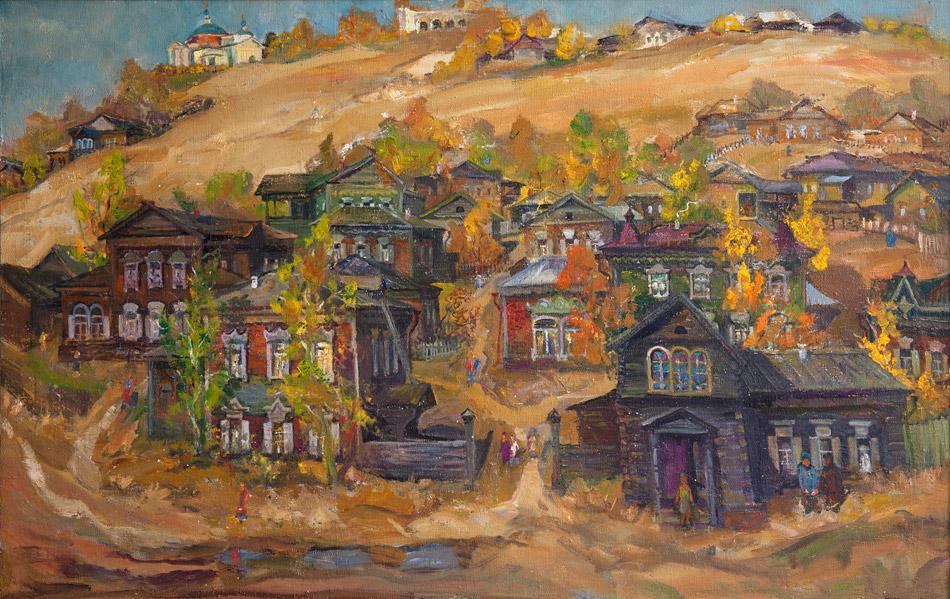 Улица Подгорная. 2004, х. м., 90х140. Живопись Владимира Александровича Кузьмина