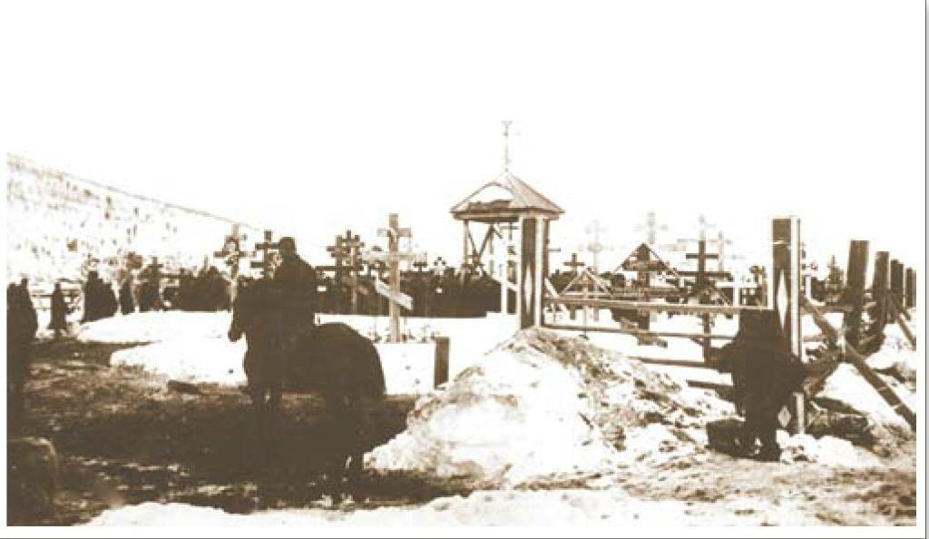 Свежие могилы на кладбище, где были захоронены жертвы Ленского расстрела