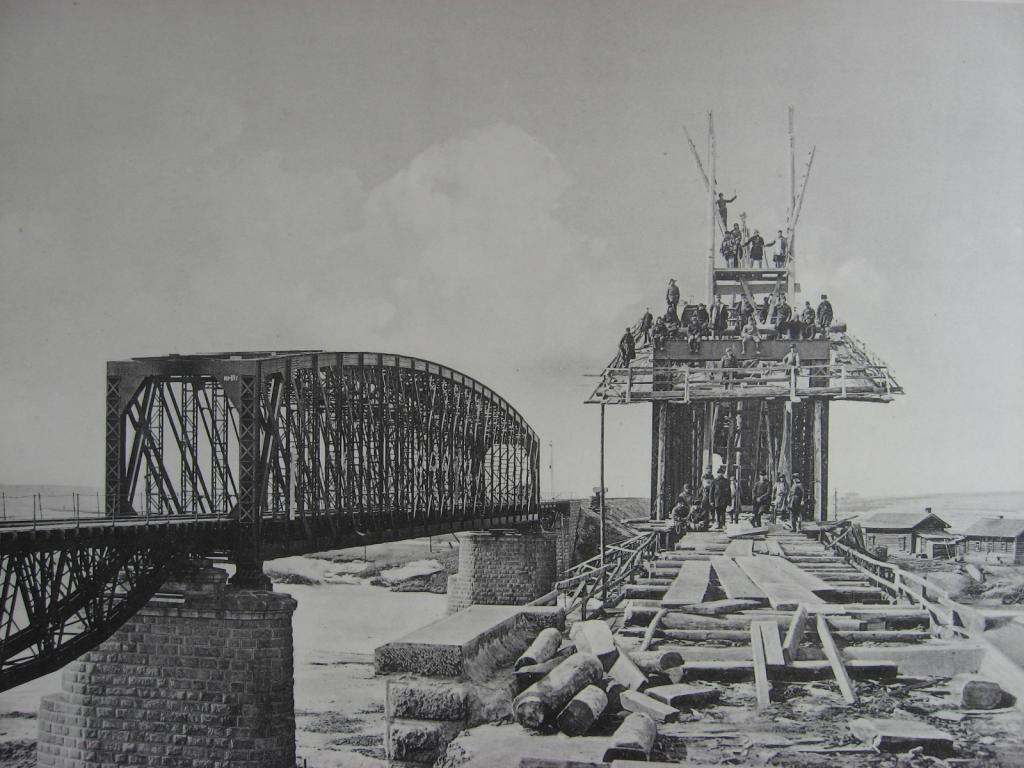 3021 верста. Сборка нового моста через р. Китой. Строительный период 1910-1911 гг.