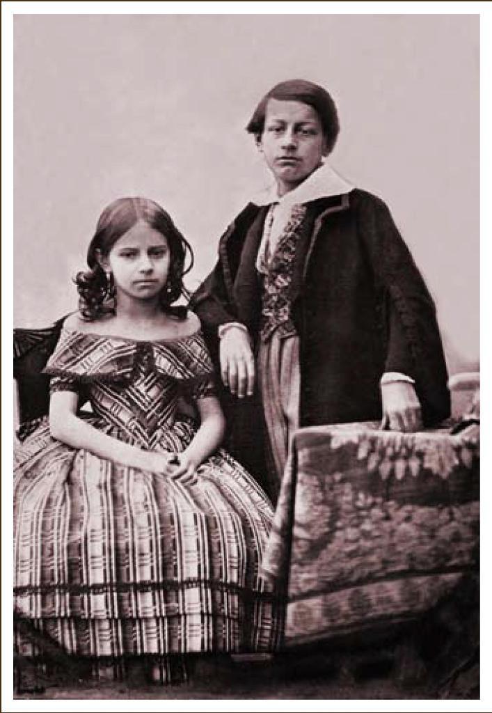 Елена и Миша Волконские. Дагерротип А. Давиньона. Иркутск. 1845 г.