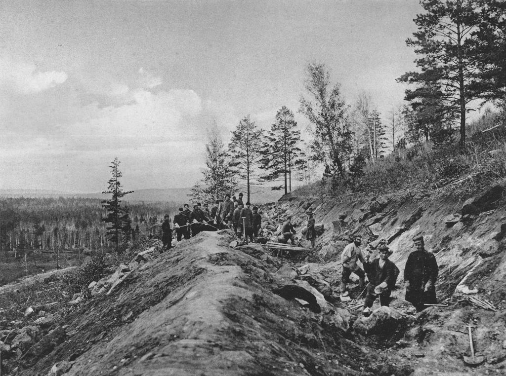 2578 верста. Нагорные канавы на марском косогоре. Строительный период 1909 г