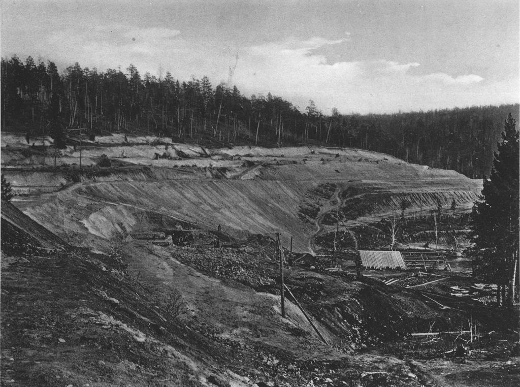 2572 верста. Общий вид на насыпь. Строительный период 1910 г.
