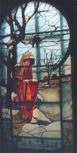 """Магазин Л.Б. Мерецкого открылся во вновь отстроенном доме в 1907 году на Пестеревской улице. В здании на лестничной площадке, впервые в Иркутске, было сделано витражное окно """"Аленка"""" по рисунку А.П. Артюшкова , выполненное во Франции и смонтированное в нашем городе"""
