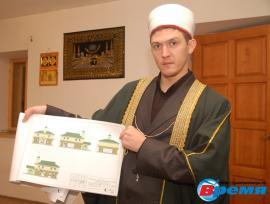 Имам МИНГАЛЕЕВ Ринат - хазрат  с макетом новой мечети в Ангарске