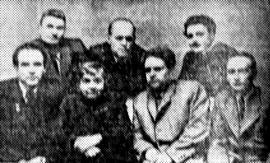 Первый ряд слева направо: К. Седых, Л. Сейфуллина, М. Лисянский, Г. Горностаев. Второй ряд: И. Луговской, И. Молчанов-Сибирский, Ю. Левитанский