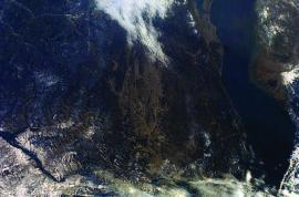 Тункинская долина. Путь в Монголию. Снимок из космоса (НАСА)
