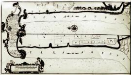 План и вид Иркутска с проектом места для постройки судов и стапеля. 1764 г. ИОКМ ВС 6364-3