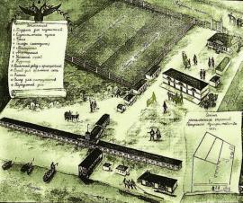 Схема расположения строений Иркутского адмиралтейства. 1825 г. ИОКМ