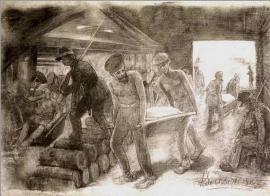 Заключенные на работе. Рисунок А. Сохачевского