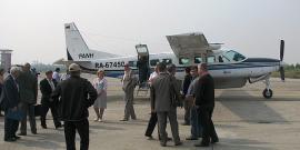 """19 августа 2013 г. в Усть-Илимск прилетел первый 9-ти местный самолет авиакомпании """"ПАНХ"""" Cessna 208B Grand Caravan."""