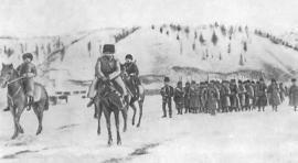 Отряд казакок на льду Байкала