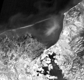Дельта Селенги и залив Провал. Снимок из космоса.
