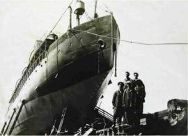 Ледокол «Ангара перед спуском со стапелей после ремонта в 1958 г. на судоверфи в п. Листвянка. ИОКМ 13856-8
